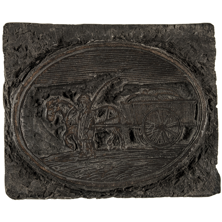 1800 S Colonial Scene On Demand: C. 1800 Printing Woodblock - Horse And Wagon