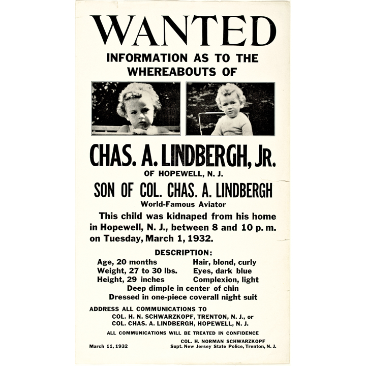 1932 Exceptional Pair of Baby Charles A Lindbergh Jr Wanted – Sample Wanted Poster